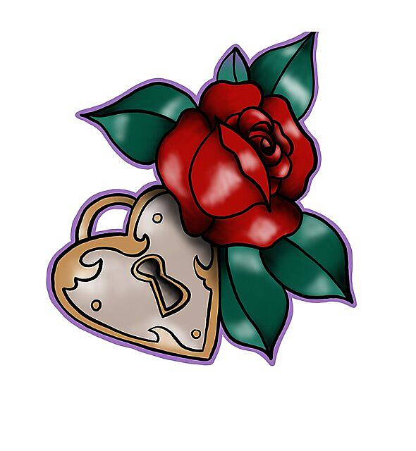 RedBubble: Lock & Rose