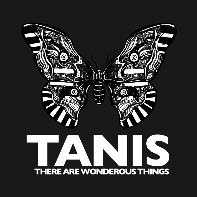 TeePublic: Tanis Moth (white letters) by Gareth A. Hopkins (grthink)