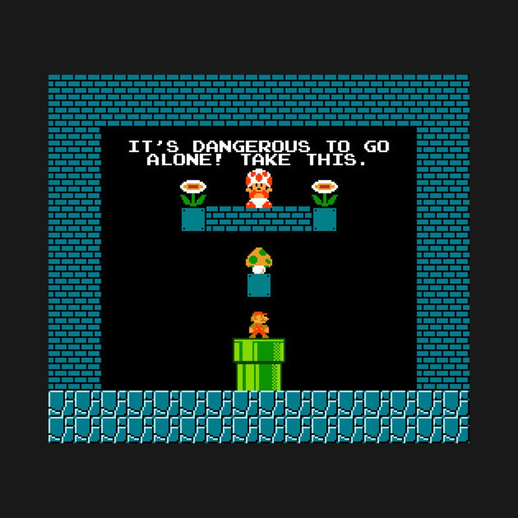 TeePublic: Dangerous for Mario to Go Alone T-Shirt