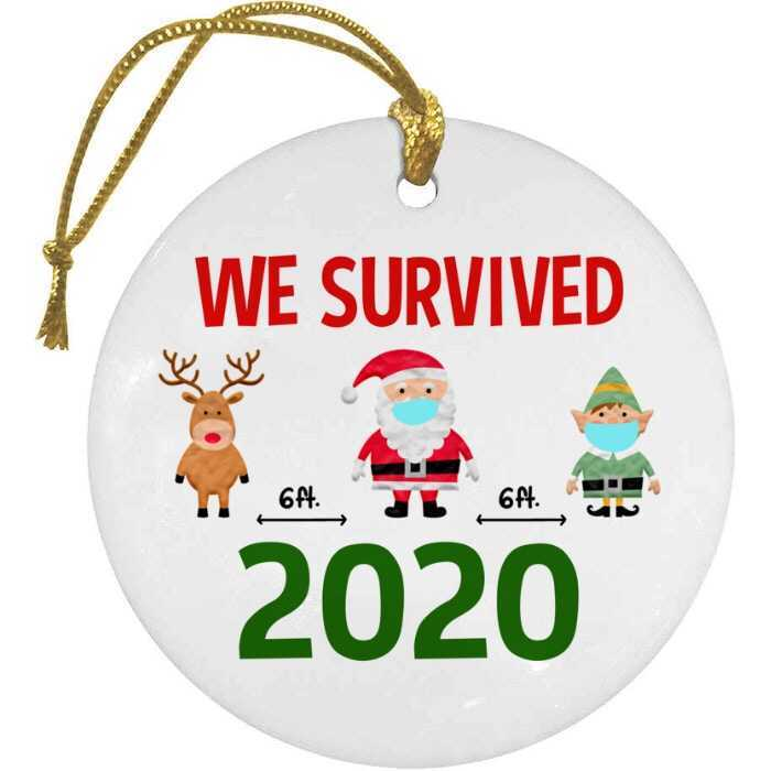 BustedTees: We Survived 2020 Christmas Ornament