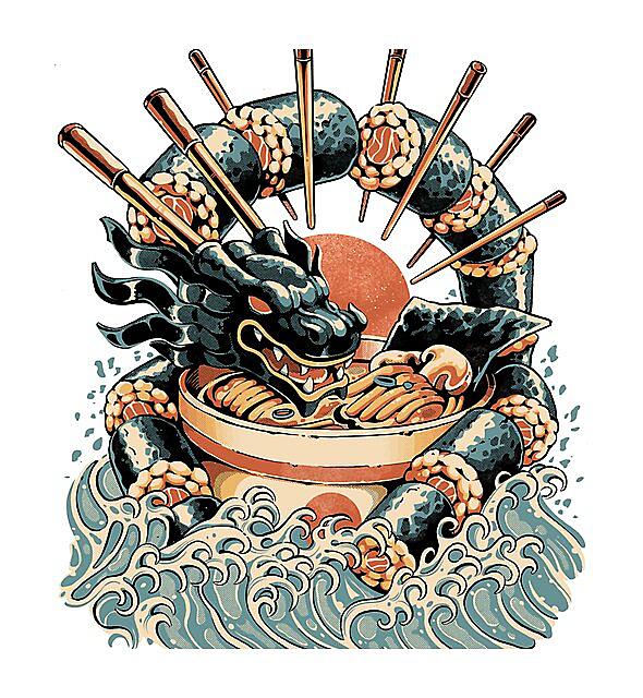 RedBubble: Dragon Sushi Ramen - Black Version
