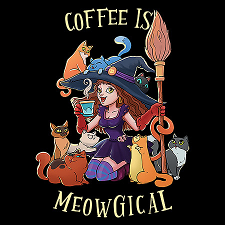 MeWicked: Coffee is Meowgical - Cat Witch With Pets