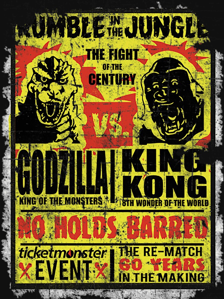 RedBubble: Godzilla vs. King Kong, distressed T-Shirt