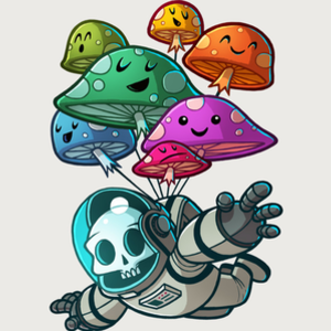 Design by Humans: muchroom paratrooper kawaii skull