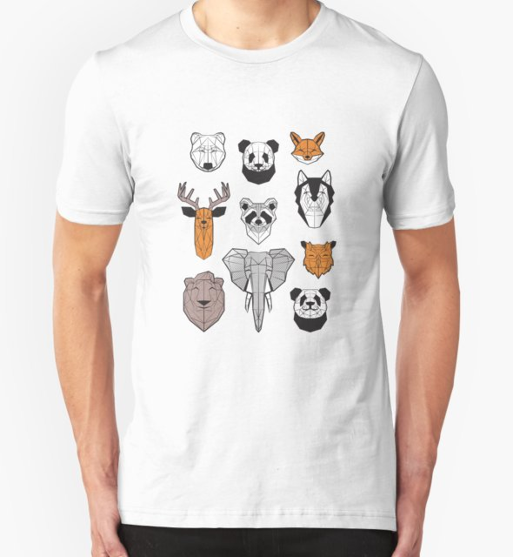 RedBubble: Friendly geometric animals // white background black and white orange grey and taupe brown animals
