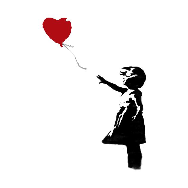 TeePublic: BANKSY Red Heart Balloon Girl