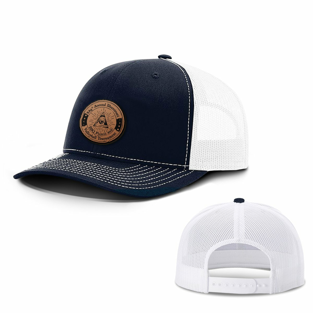 BustedTees: illuminati Leather Patch Hats