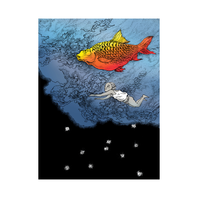 TeePublic: Swiming with the red fish