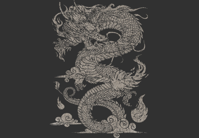 Design by Humans: Vintage Ancient Chinese Dragon (On Dark)