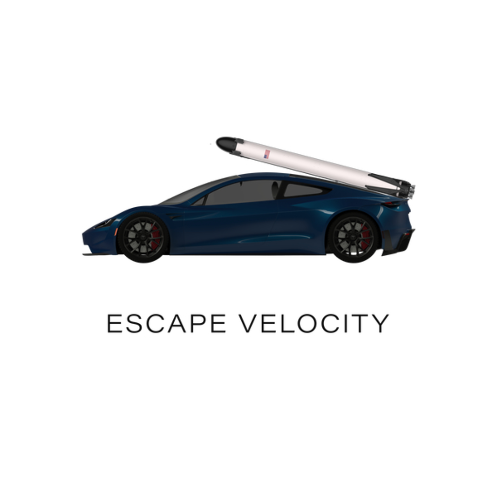 "NeatoShop: Space Roadster ""Escape Velocity"" (Blue w/ dark text)"