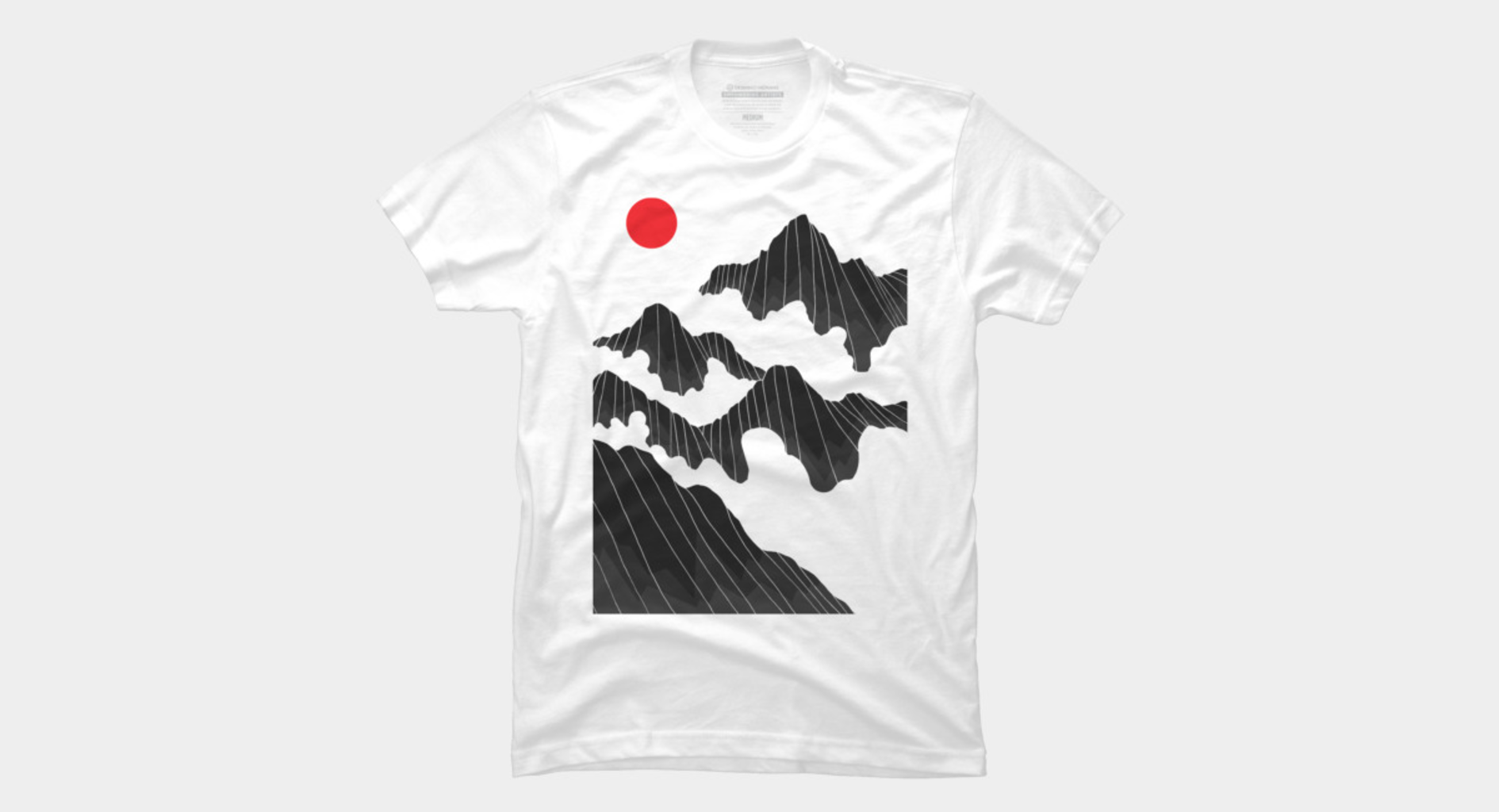 Design by Humans: A red sun over the cloudy mountains