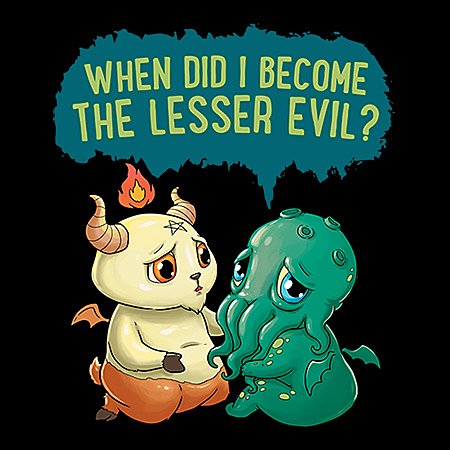 MeWicked: When Did I Become the Lesser Evil - Sad Cthulhu with Baphomet