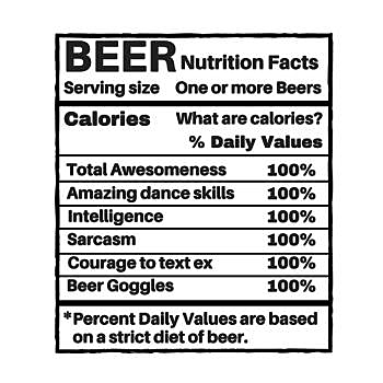BustedTees: beer nutritional facts