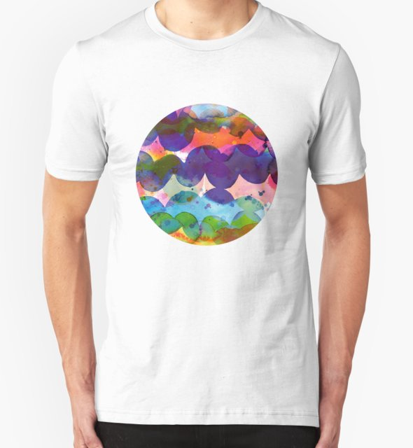 RedBubble: Abstract waves sunset watercolor painting - Colorful tidal