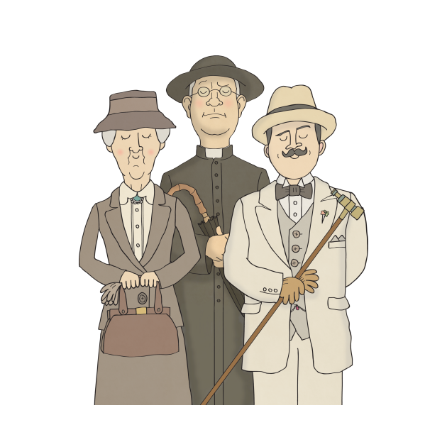 TeePublic: Marple, Poirot and Father Brown