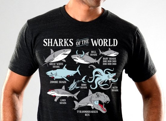 SnorgTees: Sharks Of The World Limited Edition Tri-Blend