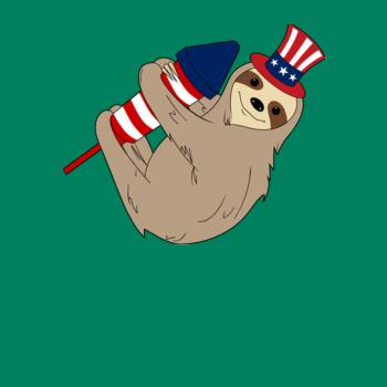 BustedTees: Rocket Firecracker Sloth American Flag 4th July