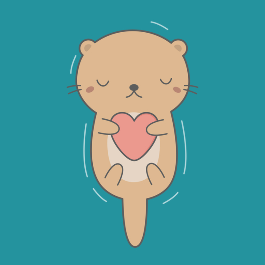 NeatoShop: Otter Hugging A Heart Is Kawaii And Cute