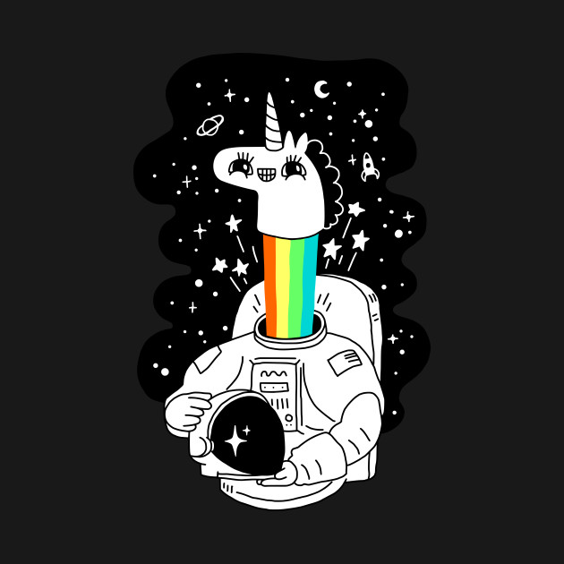 TeePublic: rainbow Unicorm doty in the space! T-Shirt