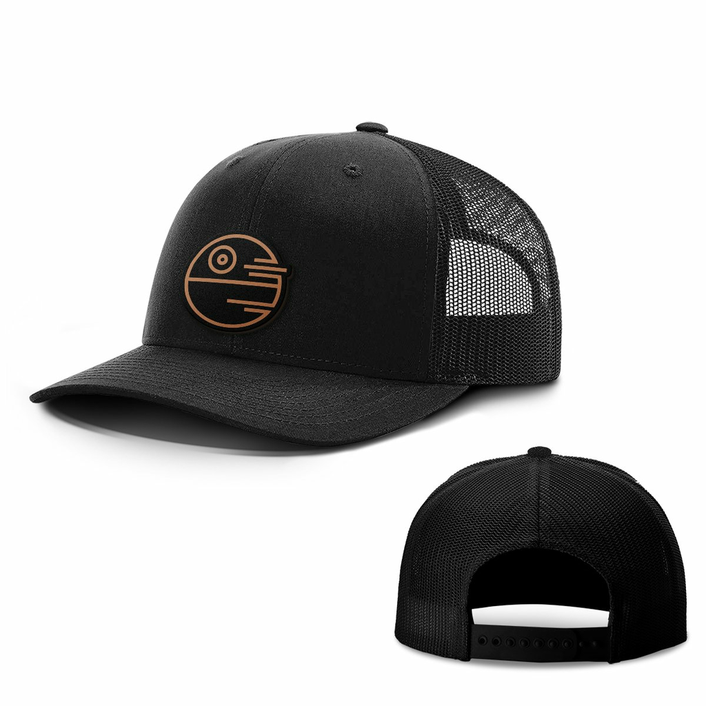 BustedTees: Death Star Leather Patch Hats