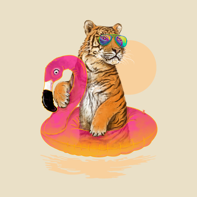 TeePublic: Chillin (Flamingo Tiger)