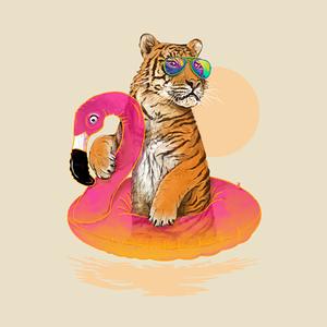 TeePublic: Chillin (Flamingo Tiger)