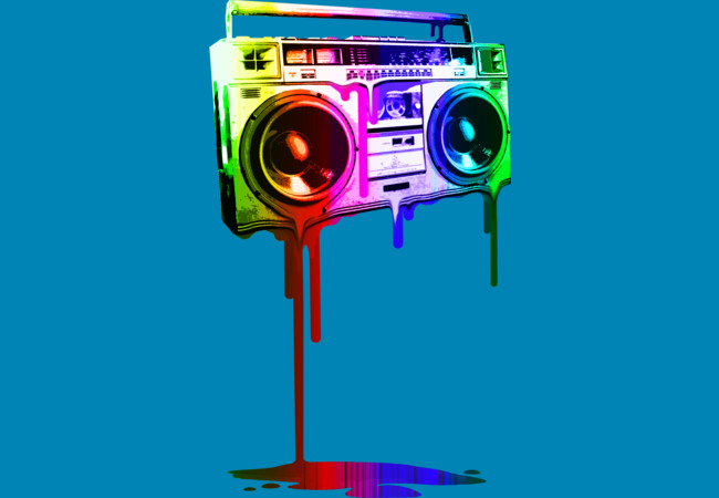 Design by Humans: Melting Boombox (digital rainbow look)