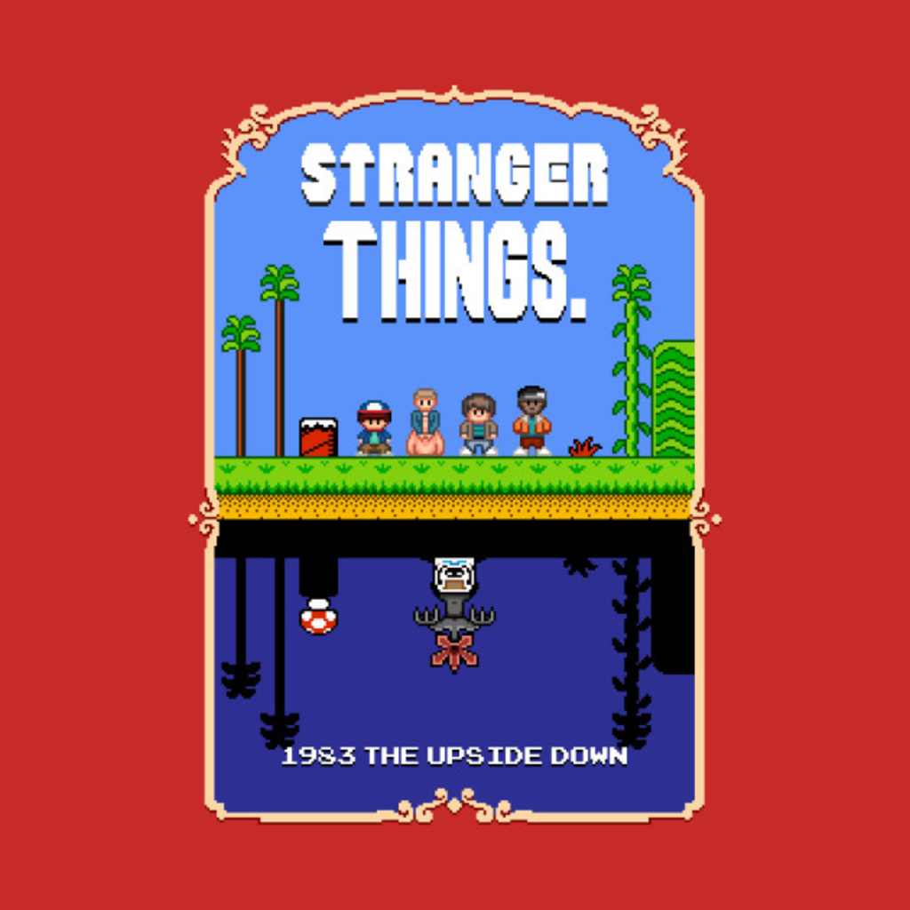 TeePublic: Stranger Things Mario Bros 2 Pixel Art Mashup