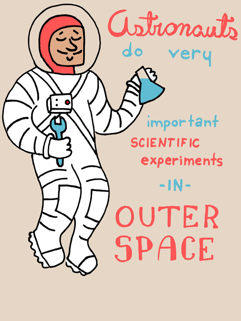 RedBubble: Scientific Astronauts - funny cartoon drawing with handwritten text