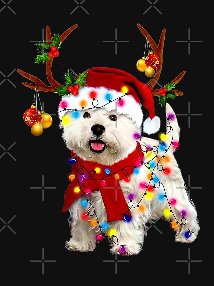 RedBubble: Santa westie dog gorgeous reindeer Light Christmas