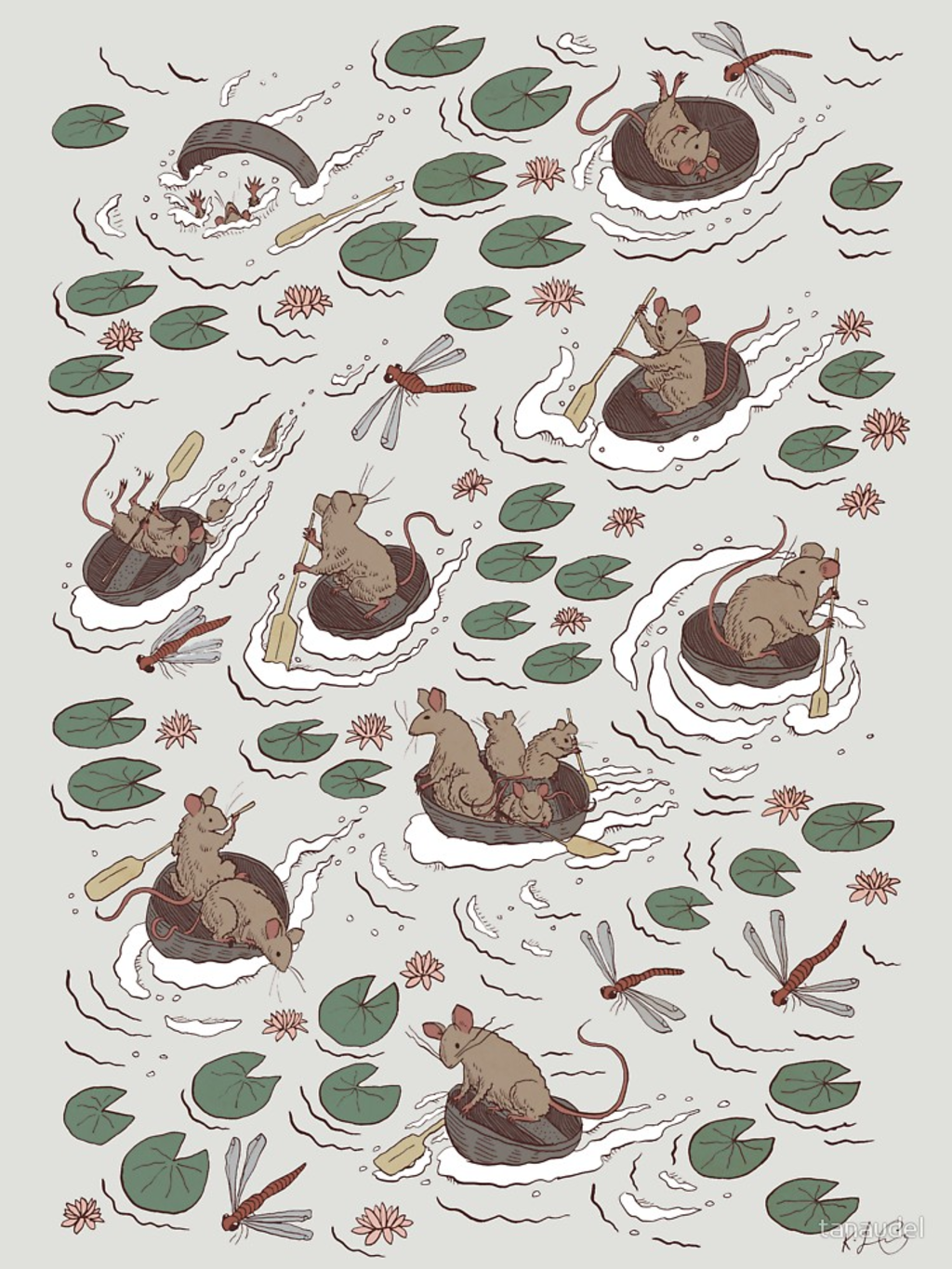RedBubble: Coracle race - mice in lilies