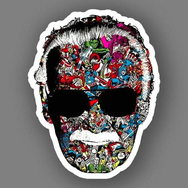 BustedTees: Stan Lee Man Of Many Faces Vinyl Sticker