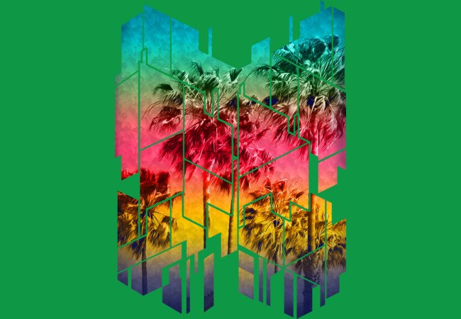 Design by Humans: Colorful Geometric Sunset Summer Palm Beach