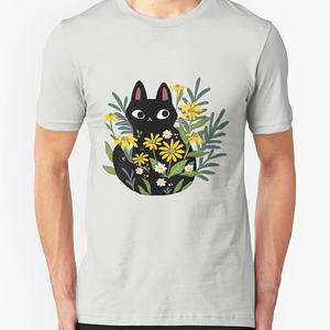 RedBubble: Black cat with flowers