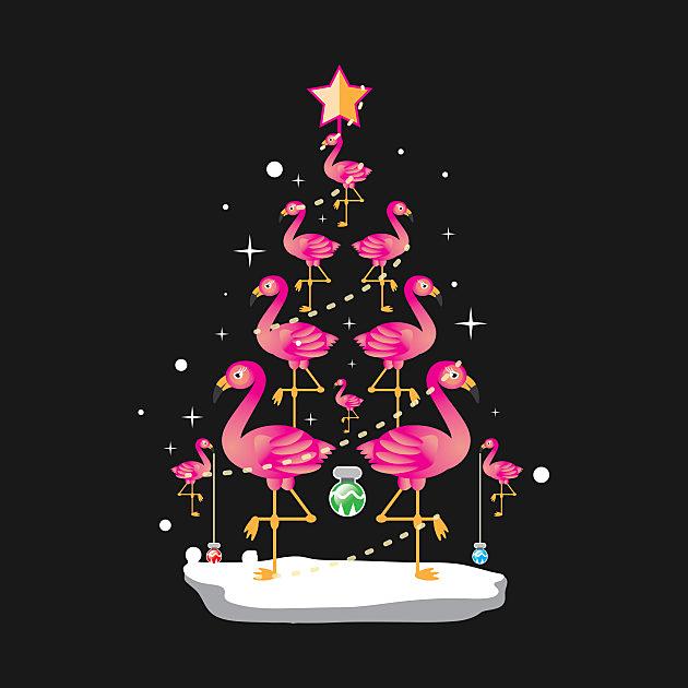 TeePublic: Flamingo Christmas Tree Shirt Ornament Decor Gift Tee