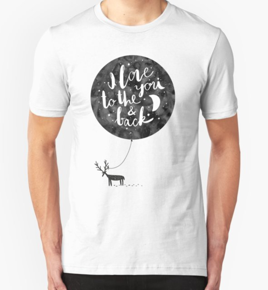 RedBubble: hand drawn cute illustration with a deer, ballon and text