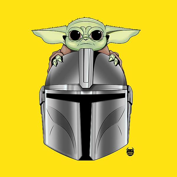 NeatoShop: Baby Yoda with Mandalorian helmet