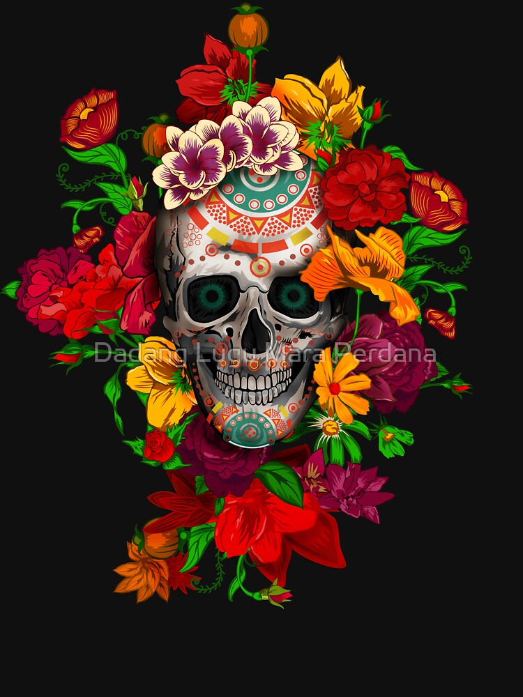 RedBubble: Day of the dead sugar skull with flower