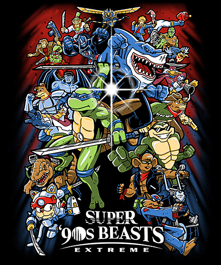 Qwertee: Super 90s Beasts