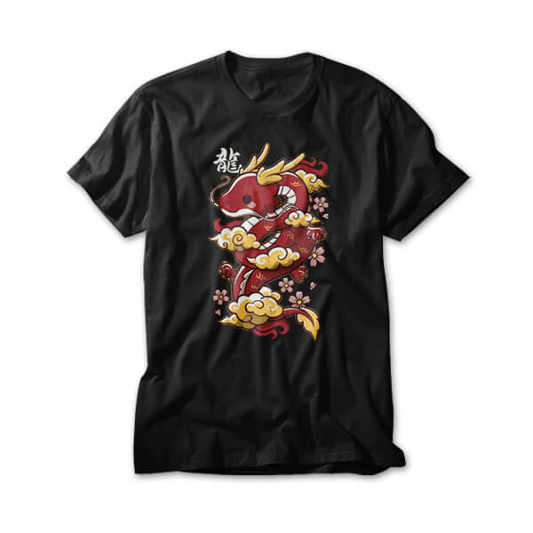OtherTees: Kawaii red dragon