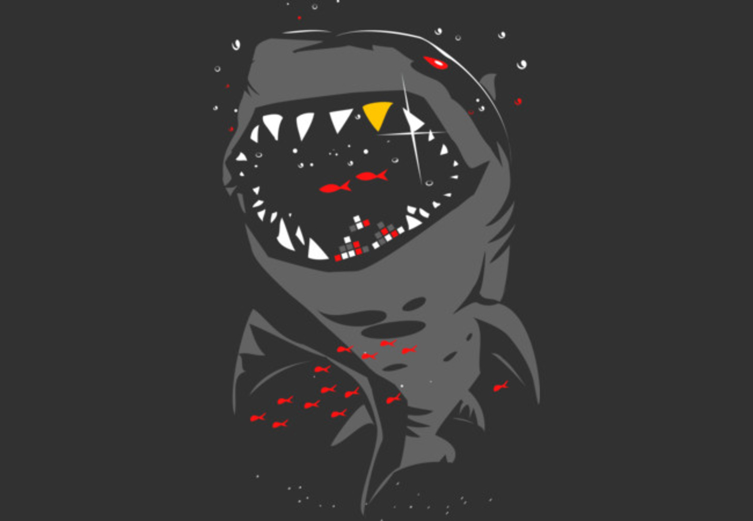 Design by Humans: Limited Edition - Shark with Pixelated Teeth