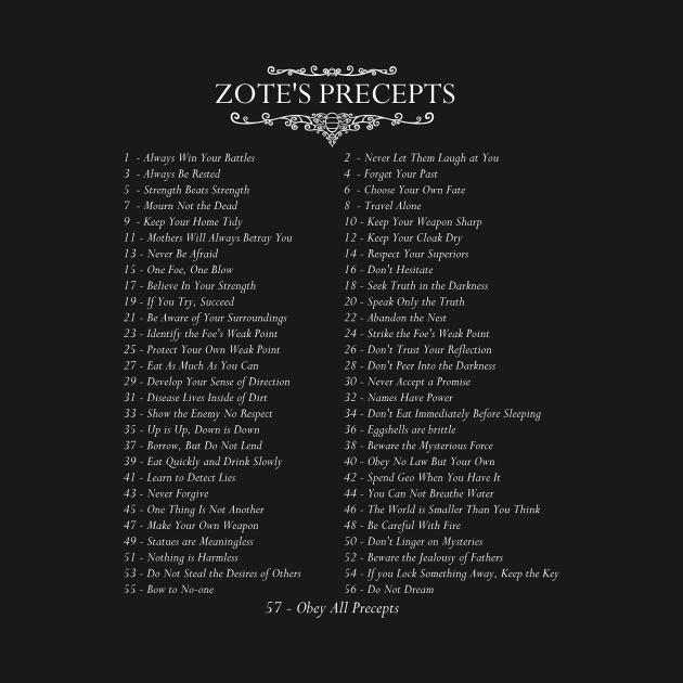 TeePublic: The 57 Precepts of Zote