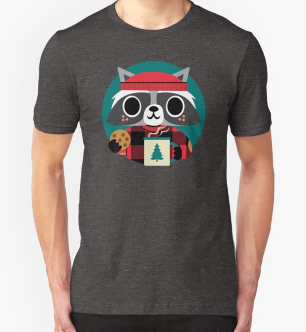 RedBubble: Raccoon in Red Buffalo Plaid Sweater