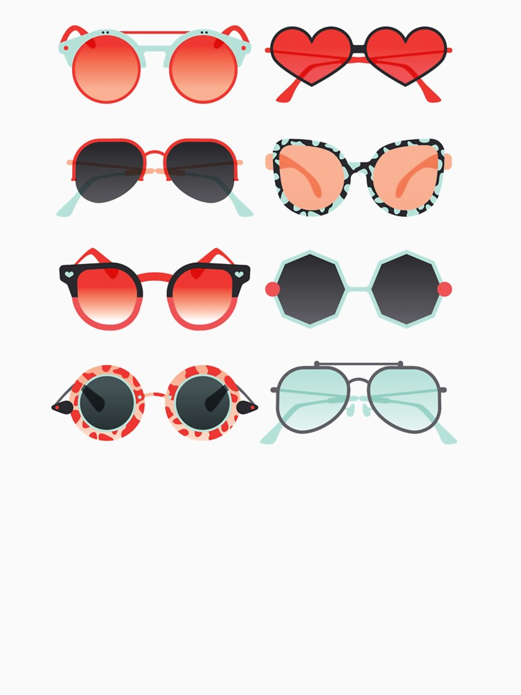 RedBubble: Sunglasses Collection – Red & Mint Palette