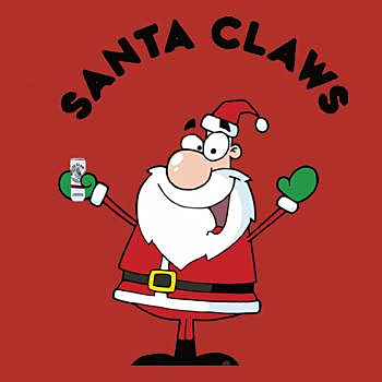 BustedTees: Santa Claus drinking white claws t-shirt