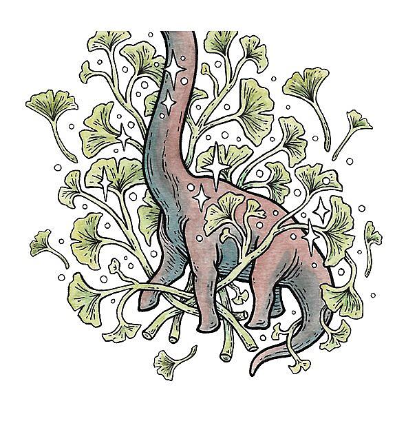 RedBubble: Brachio Ginkgo   Calm Color Palette   Dinosaur Botanical Art