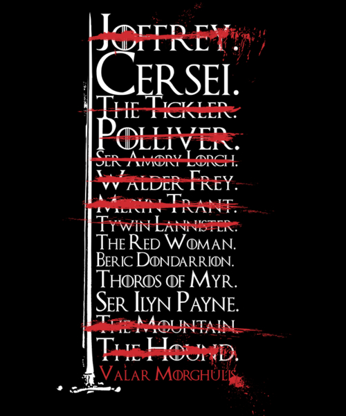 Qwertee: Arya's Kill List