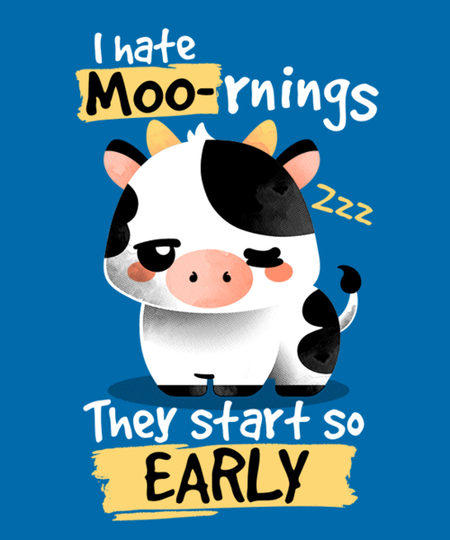 Qwertee: Cow hates mornings