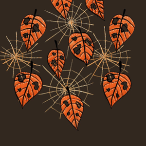 RedBubble: Orange Leaves With Holes And Spiderwebs