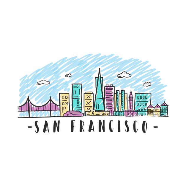 TeePublic: San Francisco California State Skyline